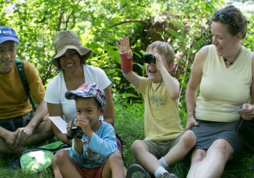 Children and parents birding