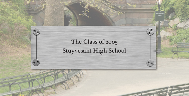 Bench plate example: Stuyvesant High School Class of 2005