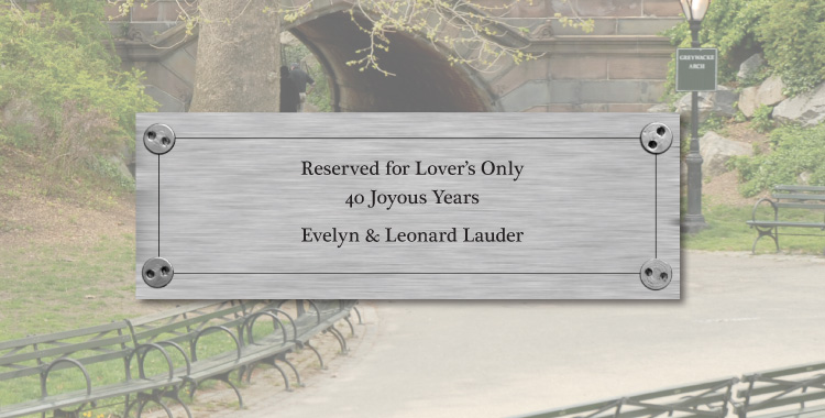 Bench plate example: Reserved for Lover's Only, 40 joyous years