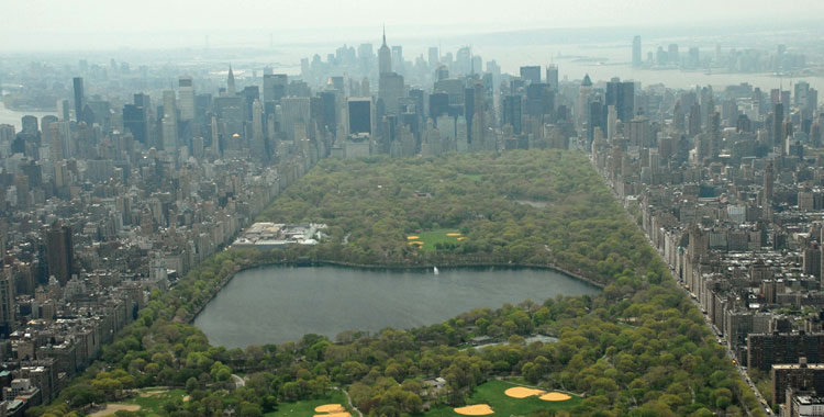 Aerial of Central Park summer