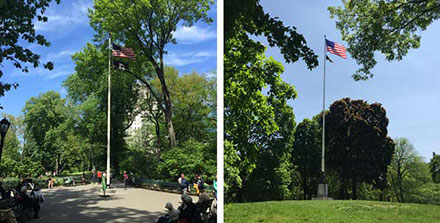 NYC Memorial and Red Cross flags