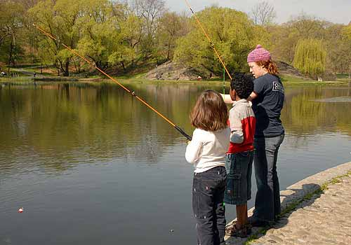 Fishing is a fun activity in Central Park