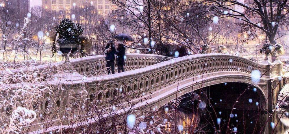 Bow Bridge during a snowfall