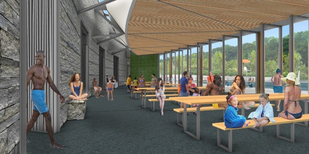 A rendering of the planned pavilion interior