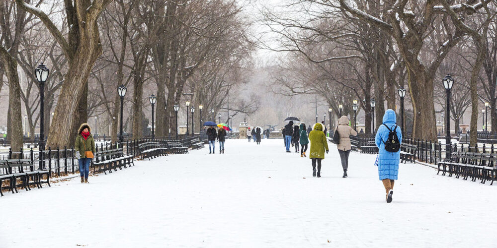 The Mall covered in snow