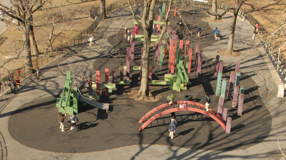 An aerial view of the playground before reconstruction