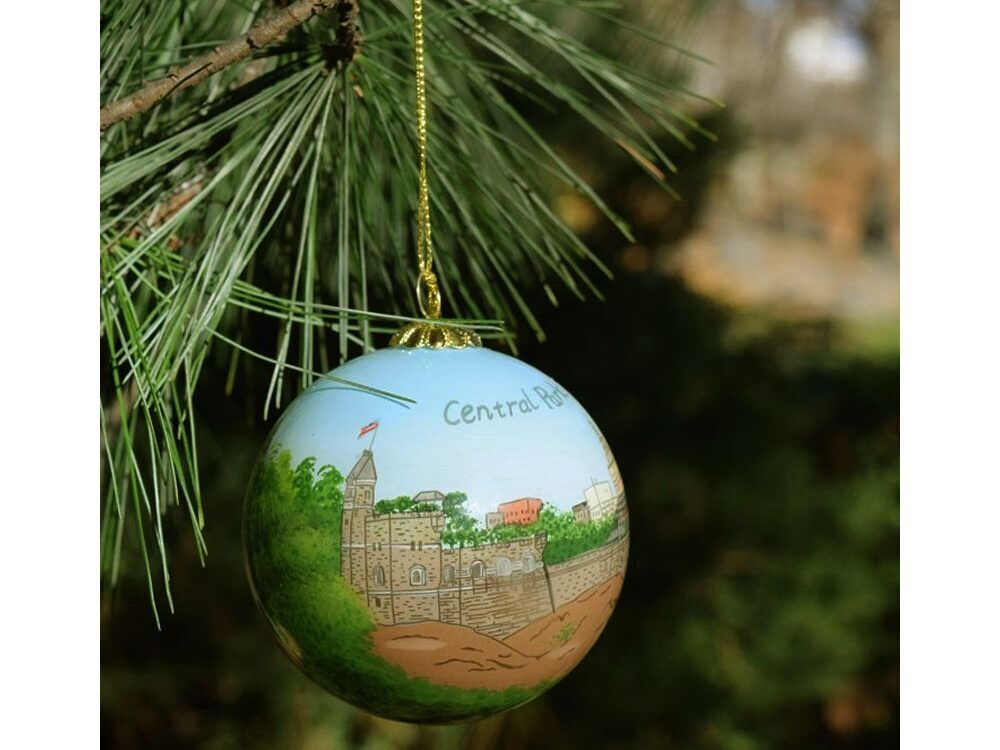 Tree ornament with a hand-painted view of Belvedere Castle
