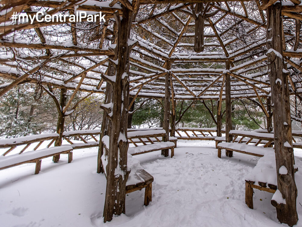 The interior of the rustic structure is shown with a layer of fresh snow.