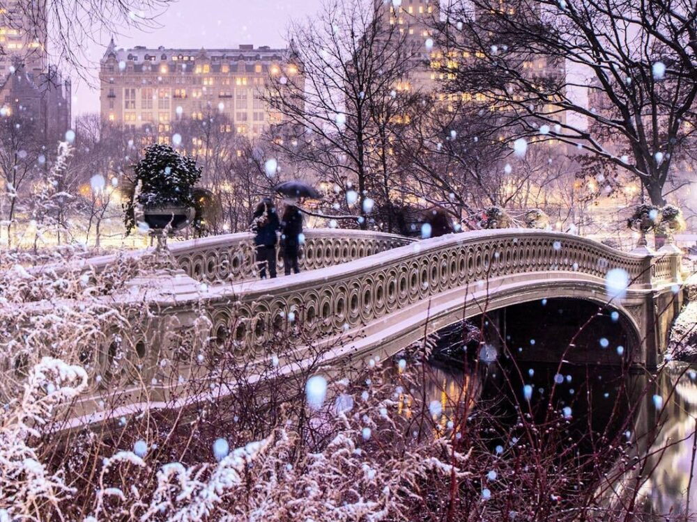 Bow Bridge during a snowfall