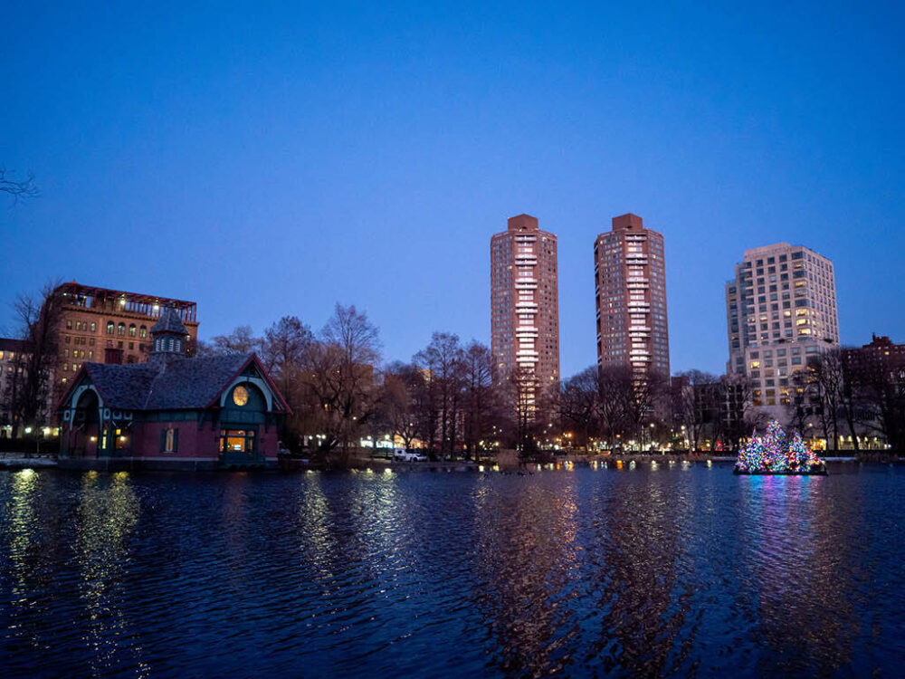 The Harlem skyline reflected in the twilit waters of the Meer