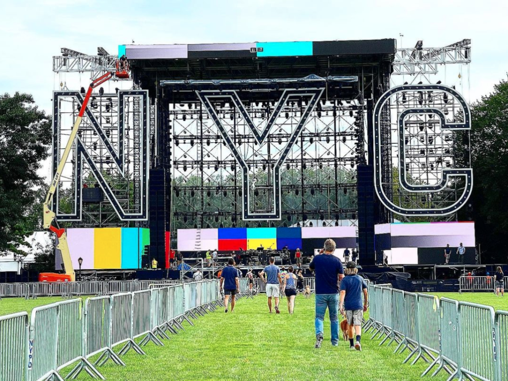 The stage set on the Great Lawn the day before the event.