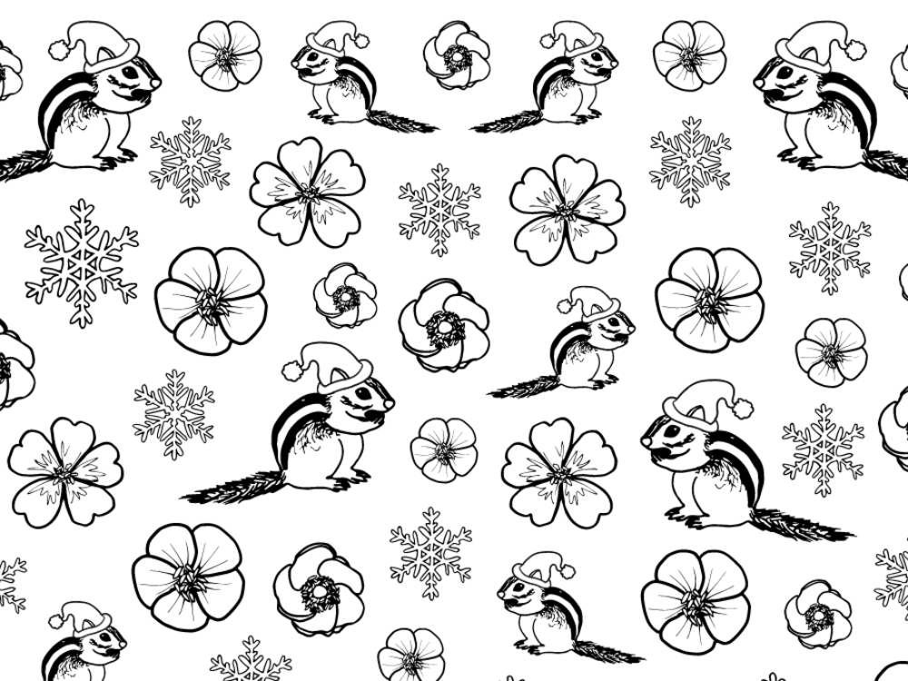 Chipmunks in Santa hats with blooms and snowflakes