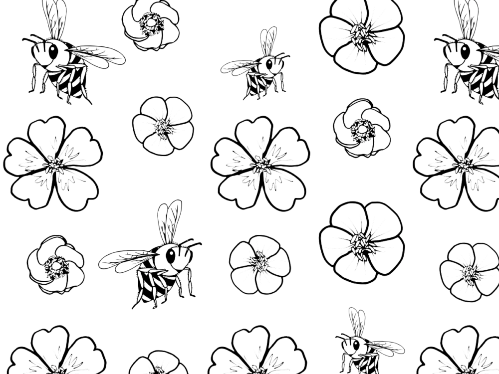 A black-and-white coloring page filled with buds and bees