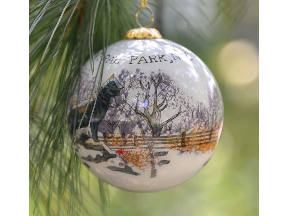 Tree ornament with a hand-painted view of Balto