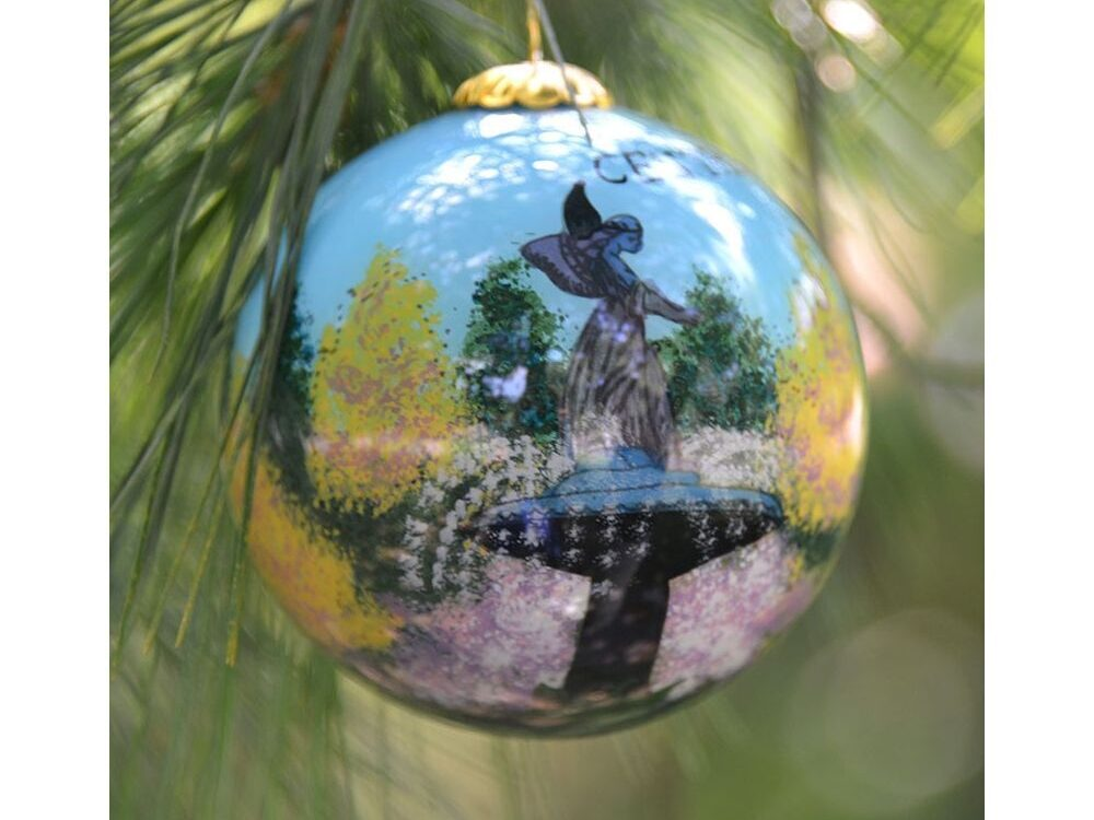 Tree ornament with a hand-painted view of Bethesda Fountain