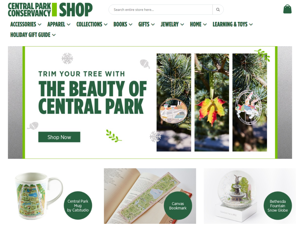 Screenshot of the Central Park Conservancy Shop site for the 2020 holiday season
