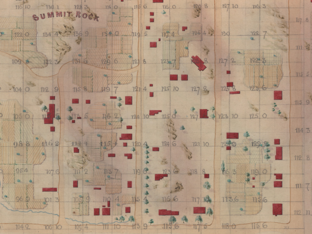 An old, yellowed map of Seneca Village, featuring the locations of buildings and homes, and highlighting the location of Summit Rock