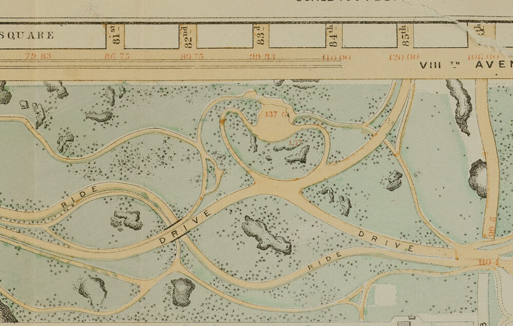 The map shows park drives winding around rock outcroppings