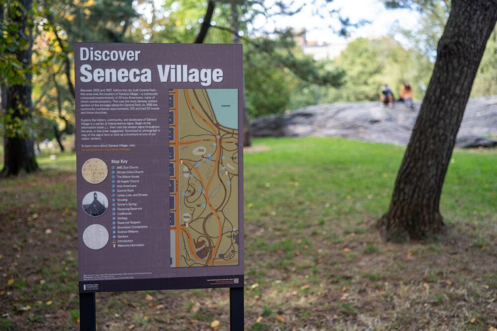 Discover Seneca Village sign