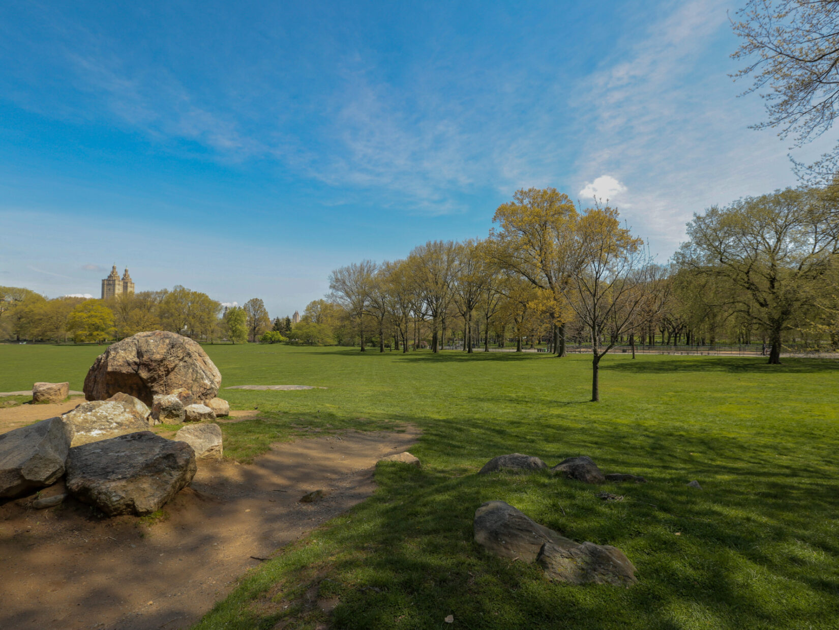 A view of an empty Sheep Meadow, shot in spring.