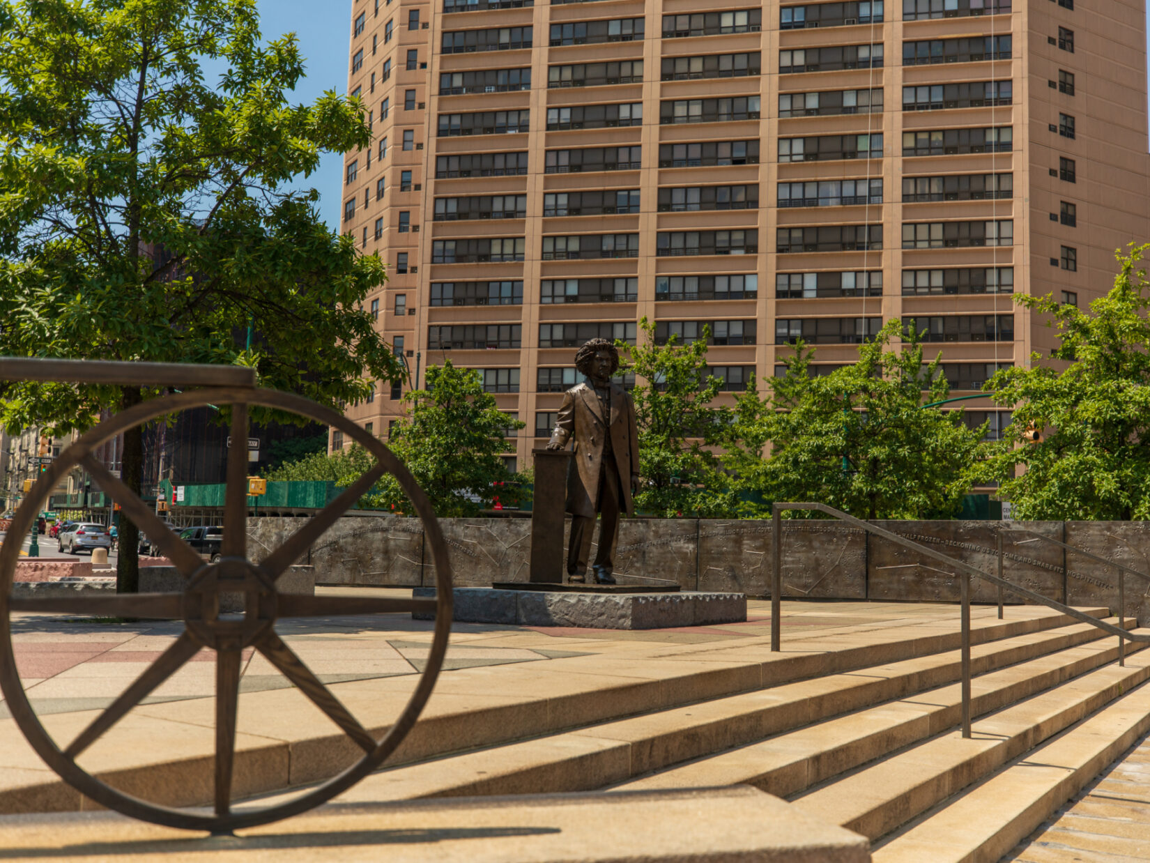 A view of Frederick Douglass Circle, with the statue of Douglass at the center