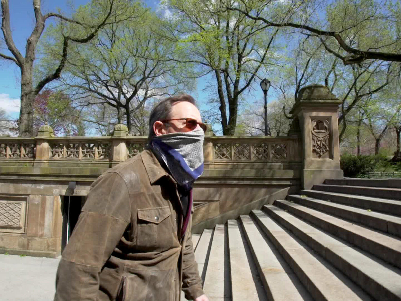 Anthony Mason walking up the stairs at Bethesda Terrace