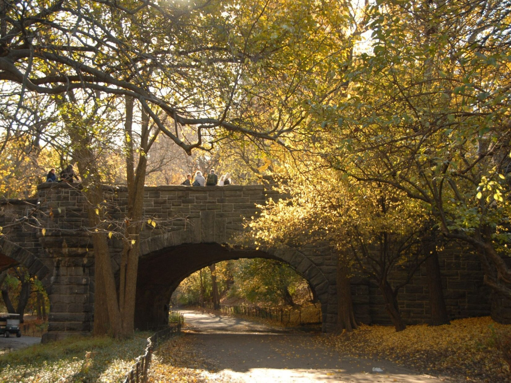 The bridge is framed in weak autumn light and last-stage foliage.