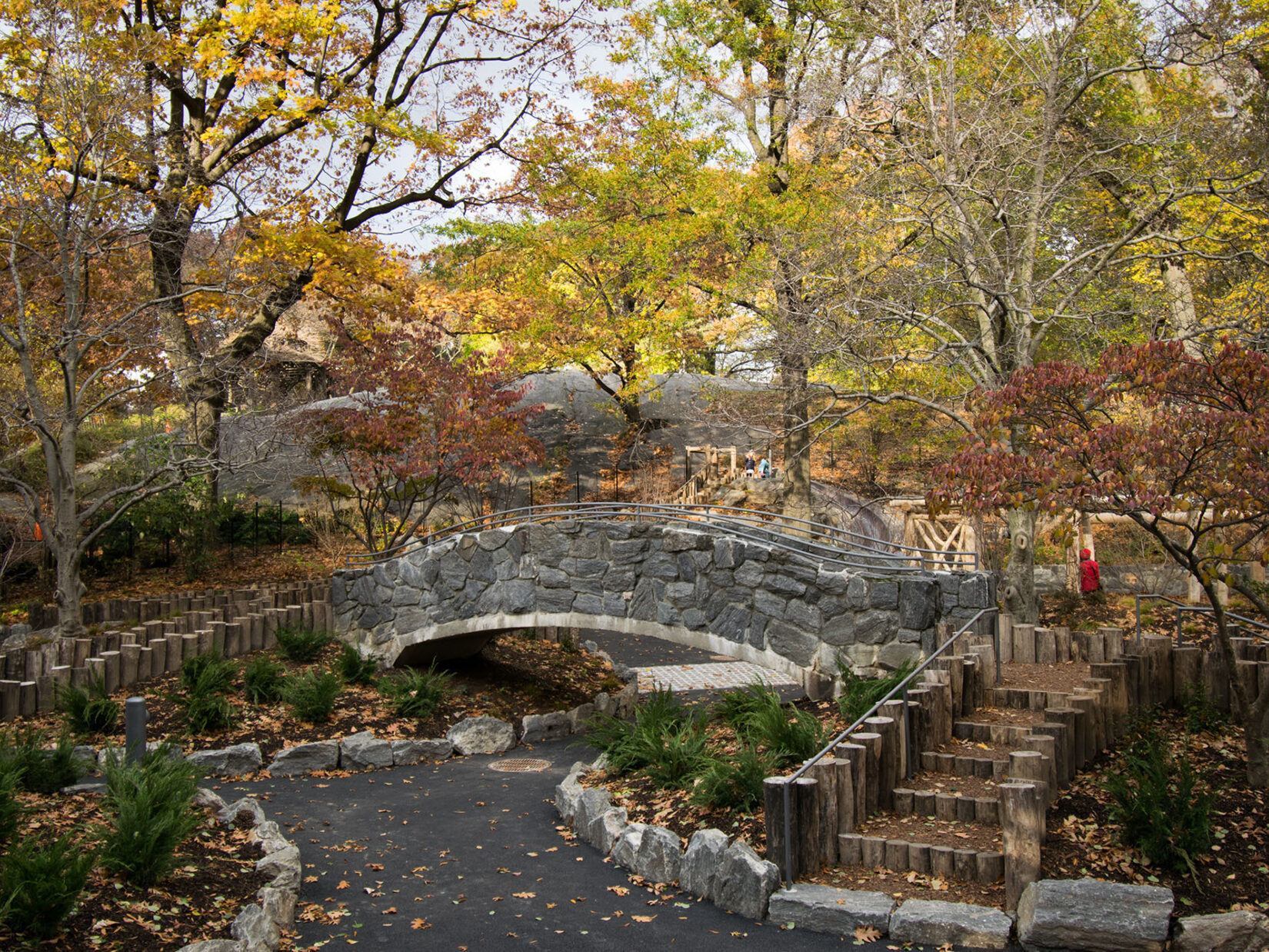 Fall foliage highlights the rustic theme of the playground