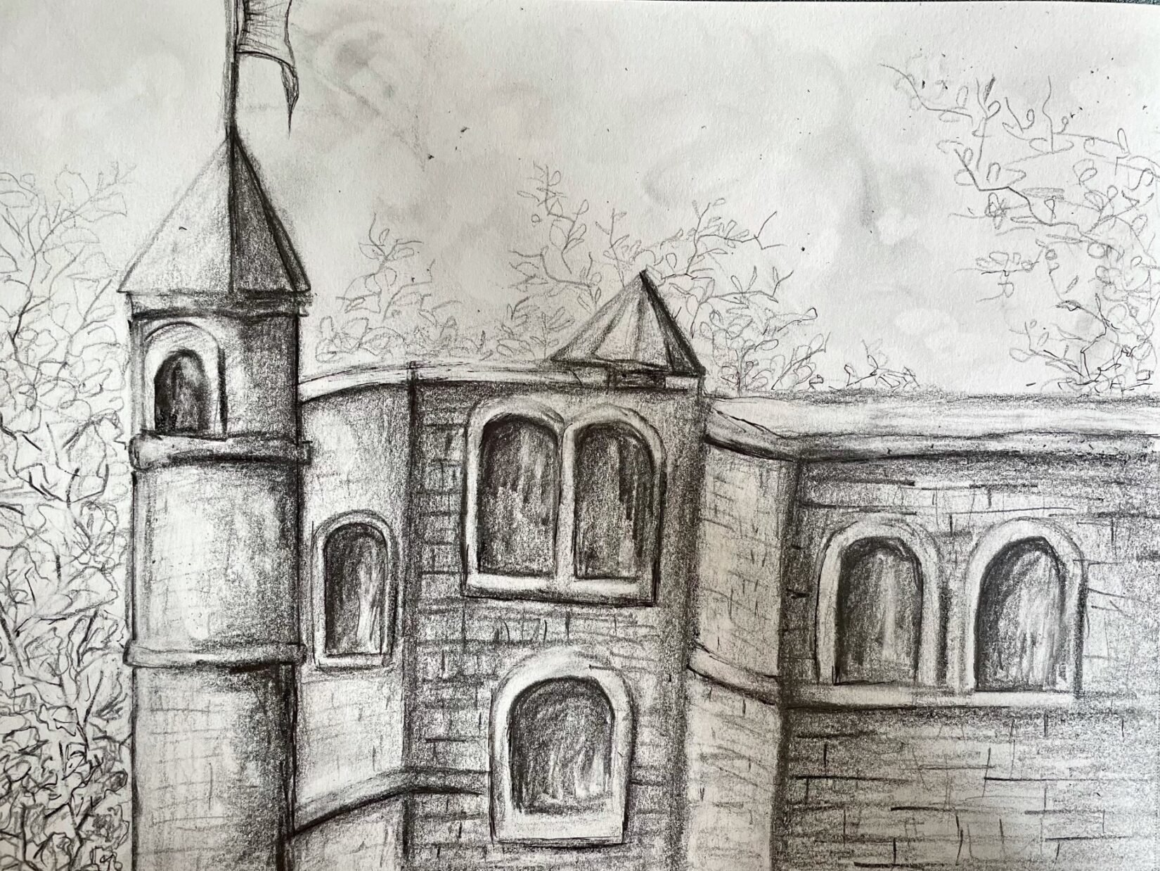 The towers of the Castle are prominent in this pencil rendering