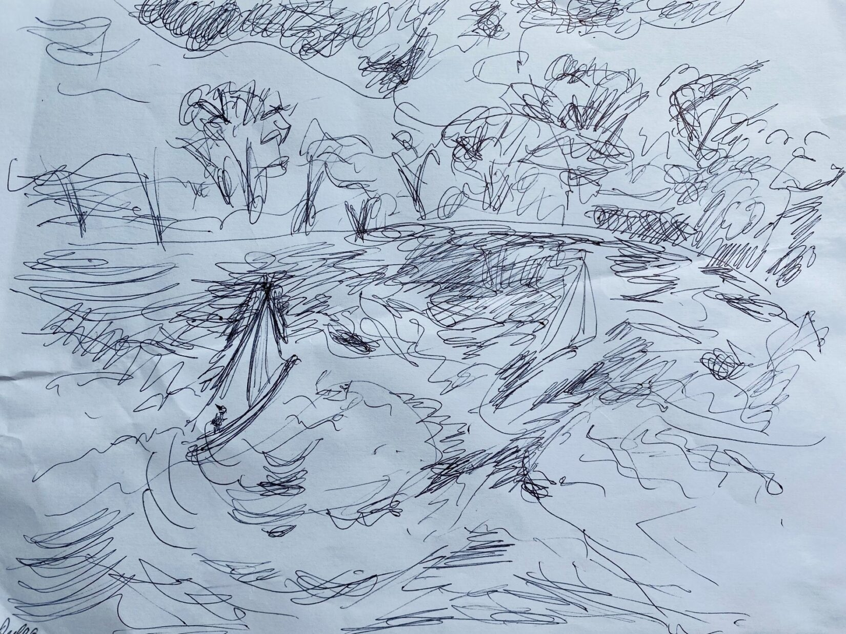 A loose rendering of Conservatory Water and the model boats that ply its surface.