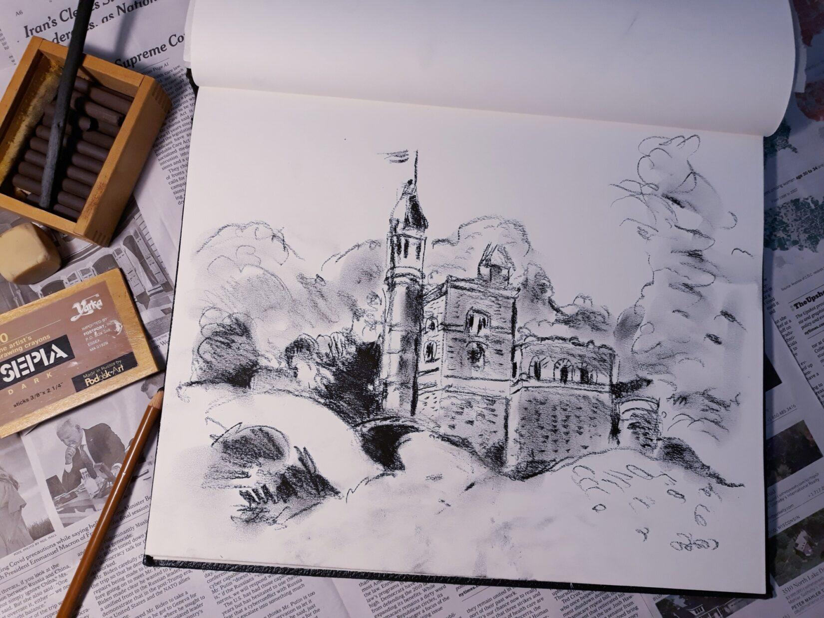 "Ellen Pliskin: ""Belvedere Castle"" (Charcoal)"