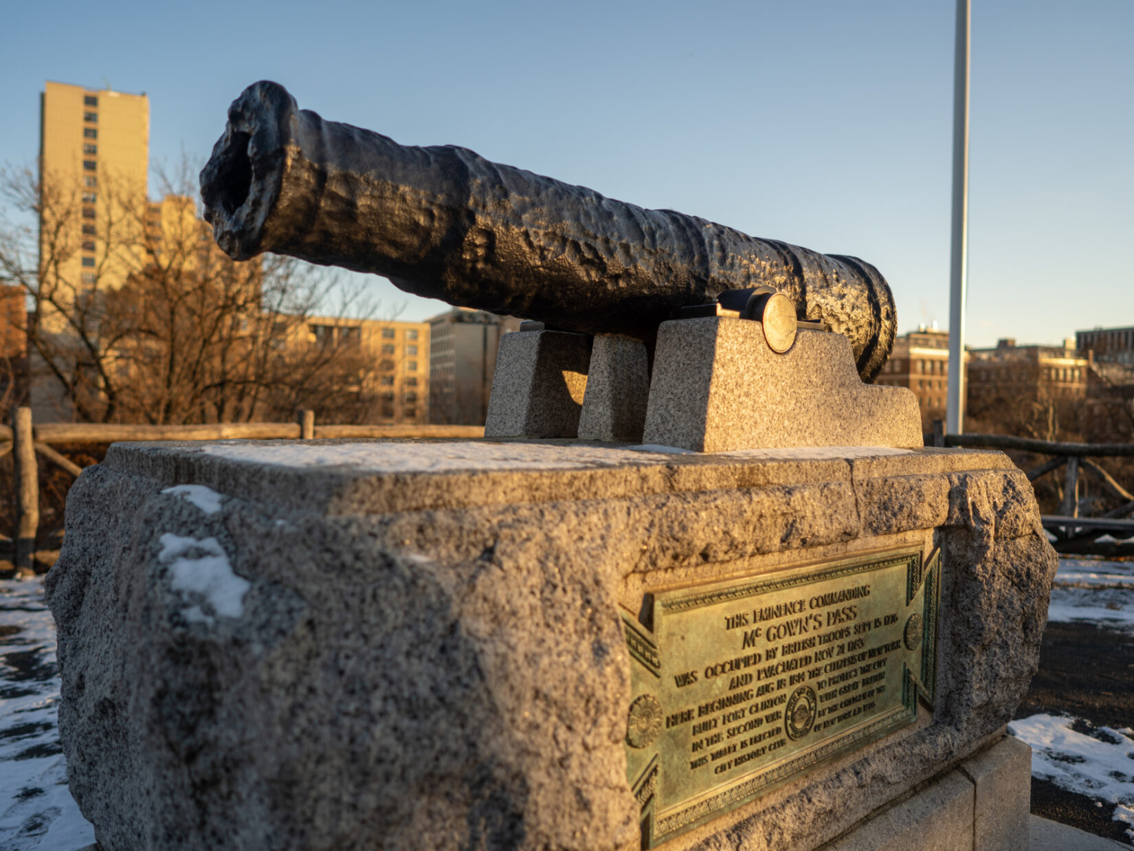 The cannon at Fort Clinton seen on a bright, winter day