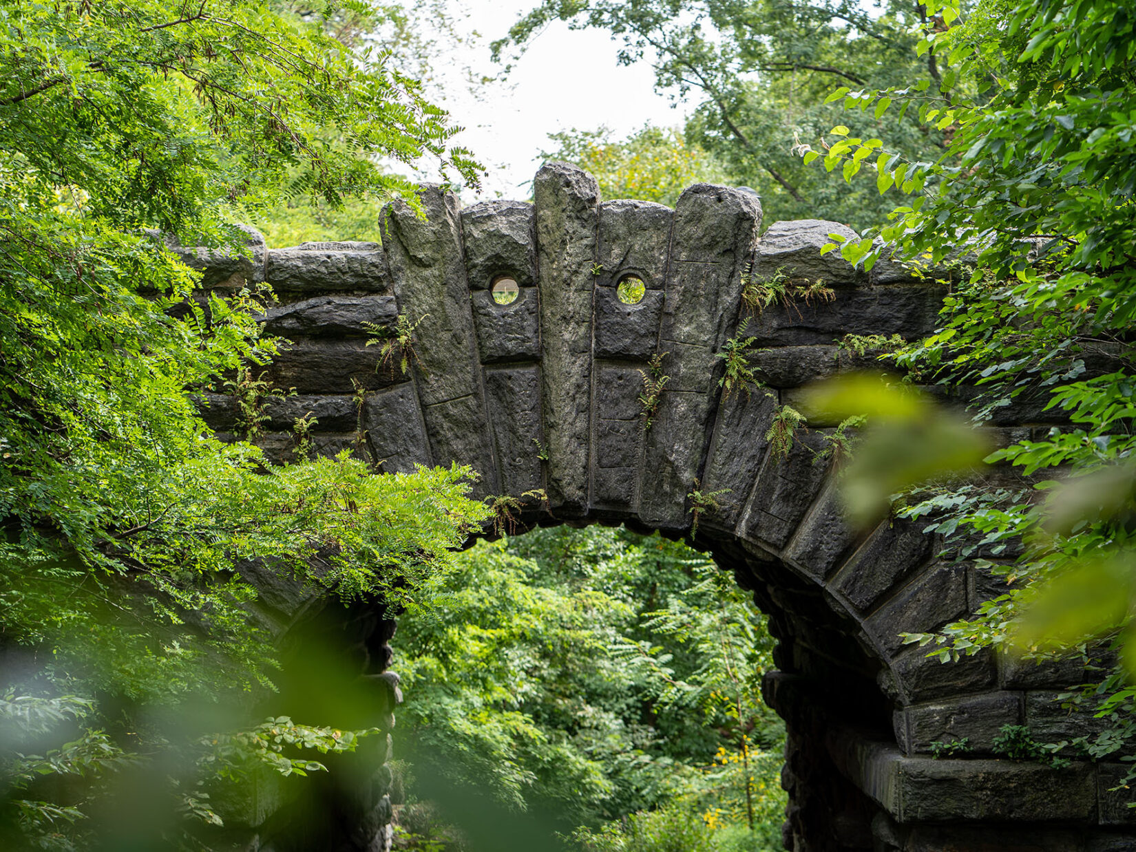 The detail of the capstones on the Glen Span Arch is highlighted