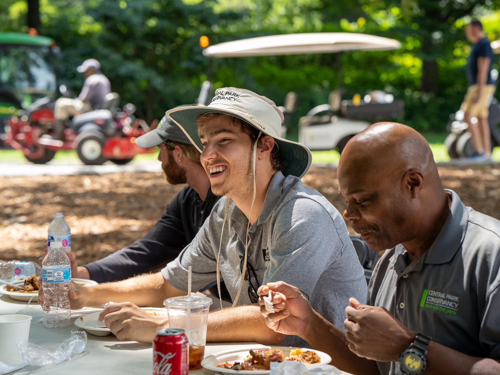 Conservancy interns enjoying an al fresco lunch