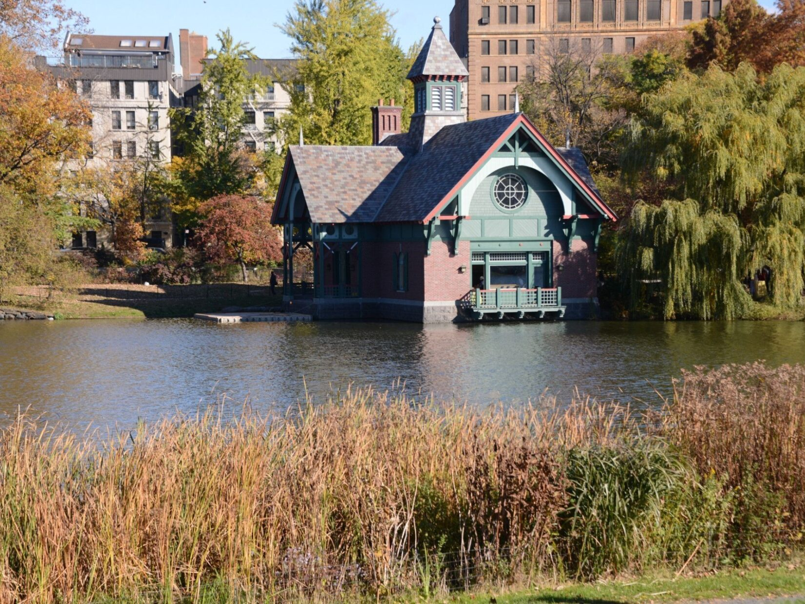 The Dana Center is seen from the opposite bank of the Meer in autumn