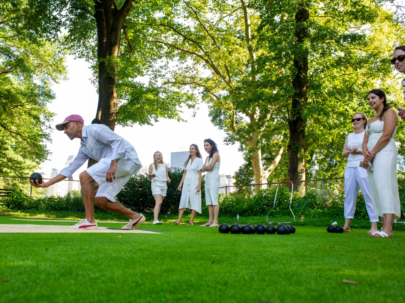 Lawn bowlers on the green
