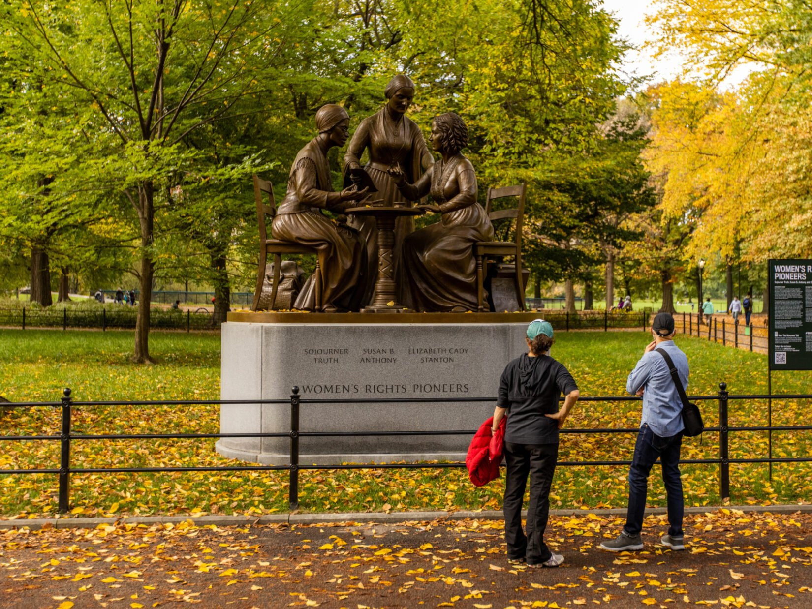 The monument pictured in early autumn
