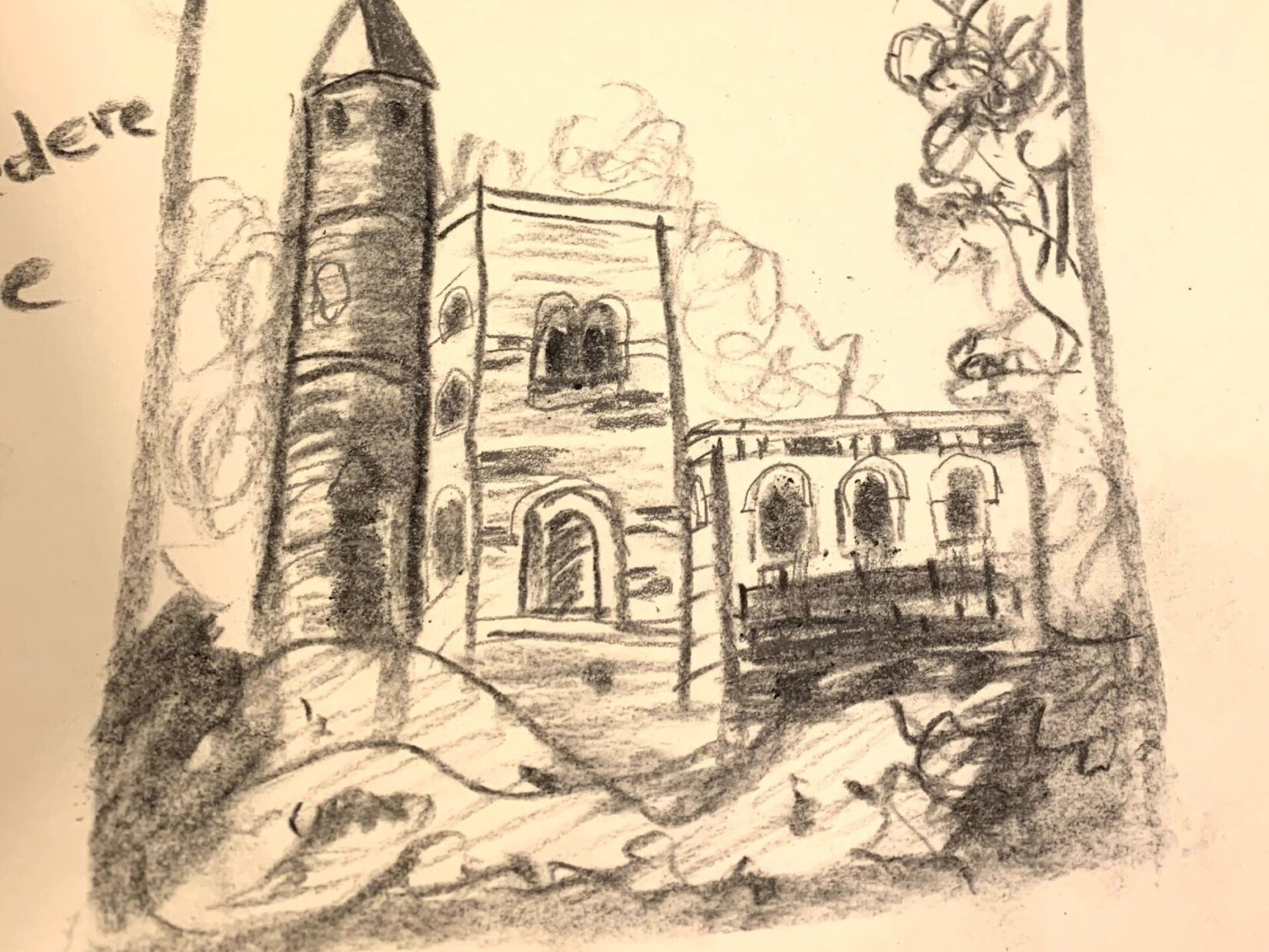 A charcoal sketch of the castle