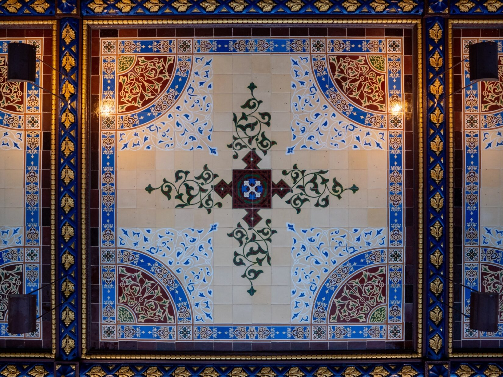 Looking straight up at the Minton Tiles