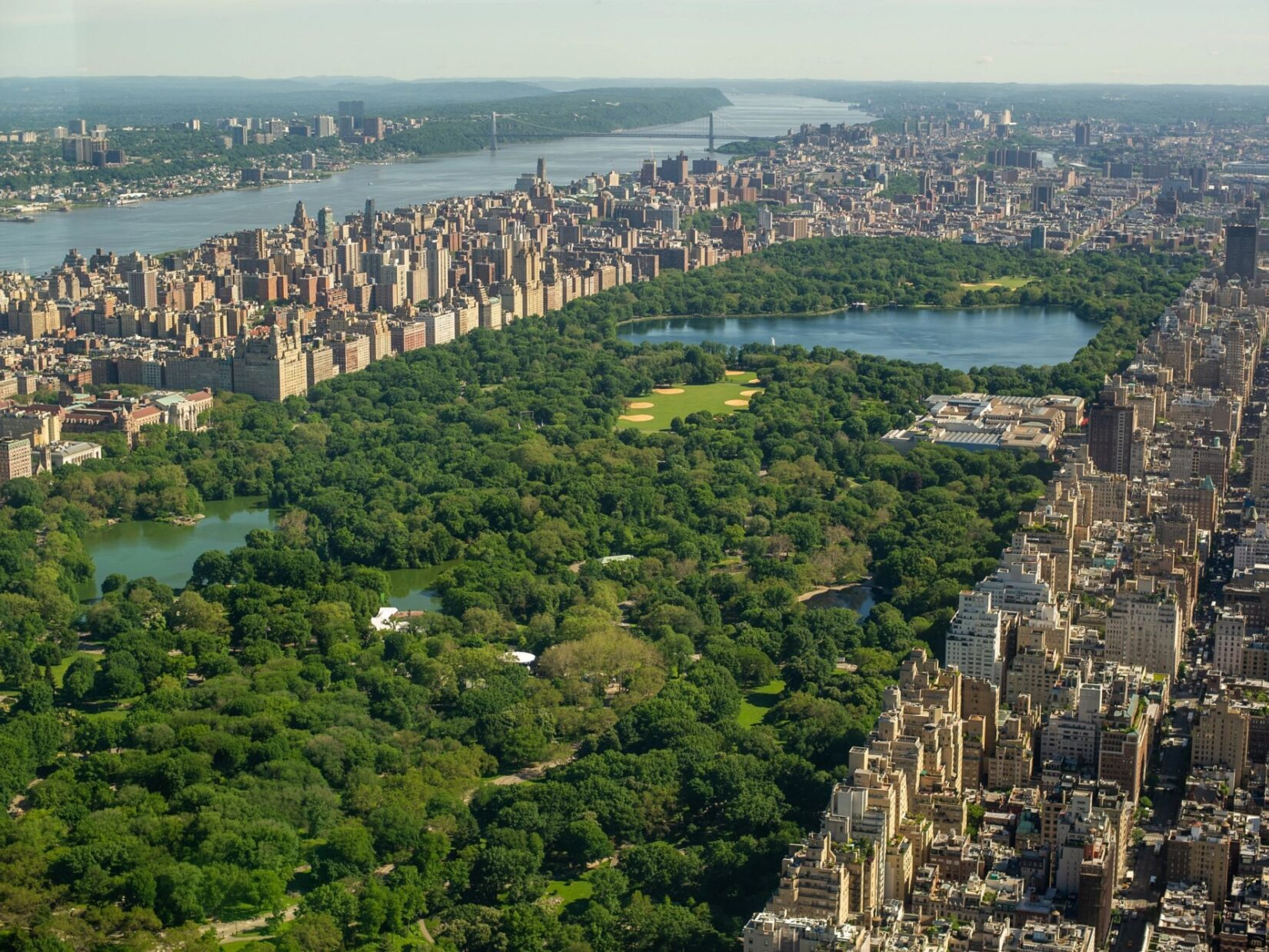 An aerial view of the park looking north, with the Hudson review to the west