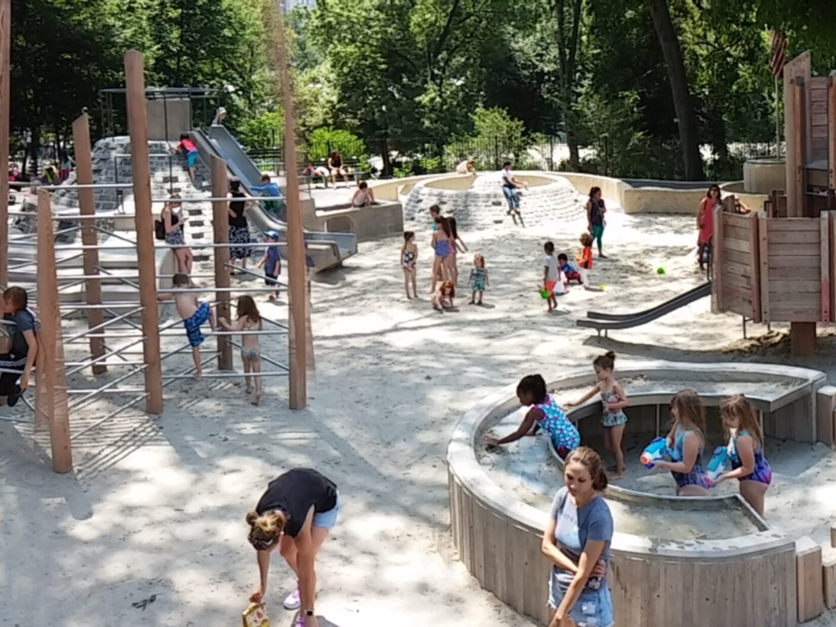 Children enjoying the different sections of the playground.