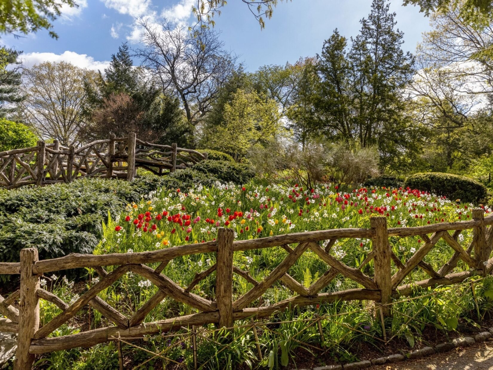 Rustic fencing surrounds the blooming flowers of the Garden