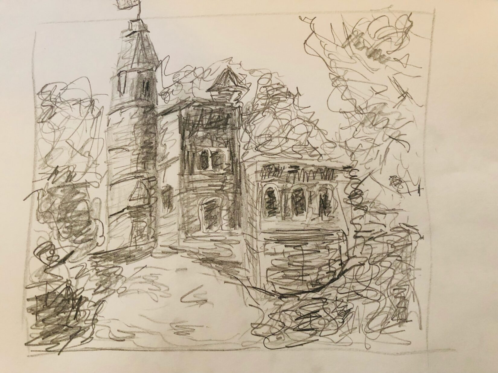 Charcoal drawing of Belvedere Castle