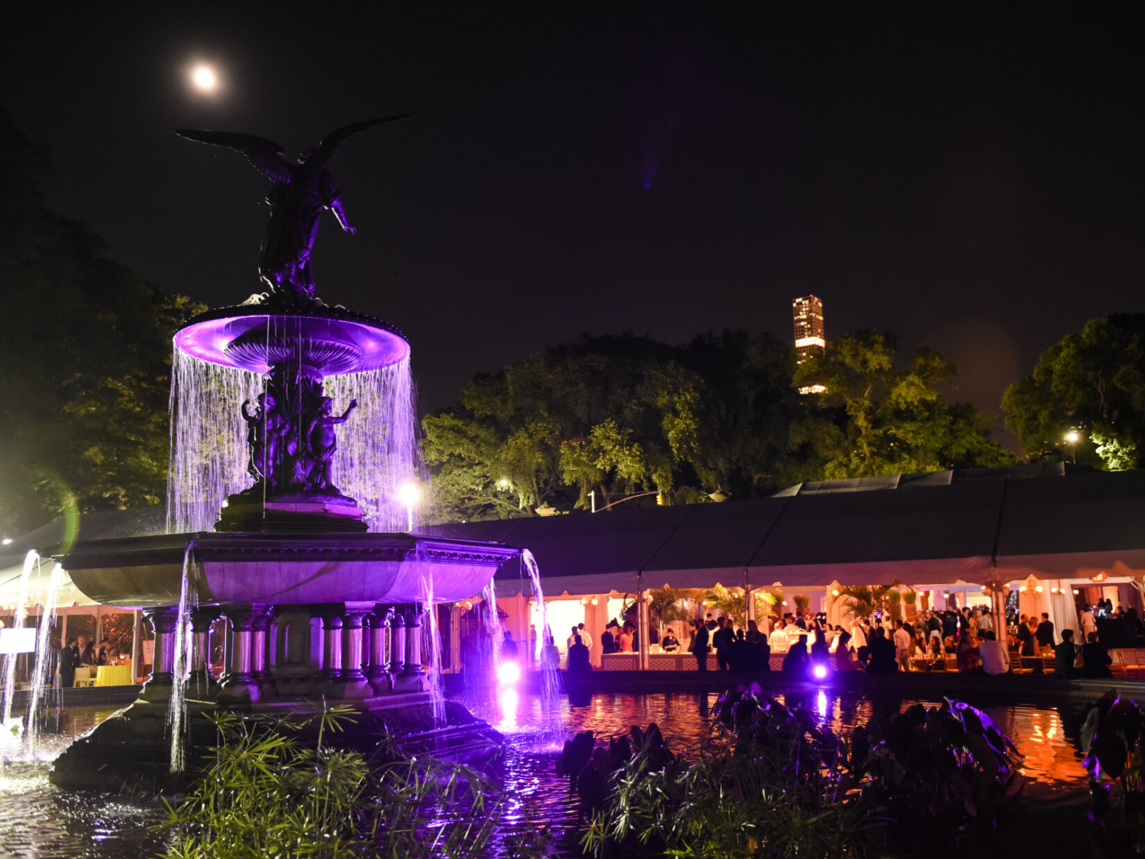 Bethesda Fountain, at night, lit for the occasion, with diners in a tent in the background