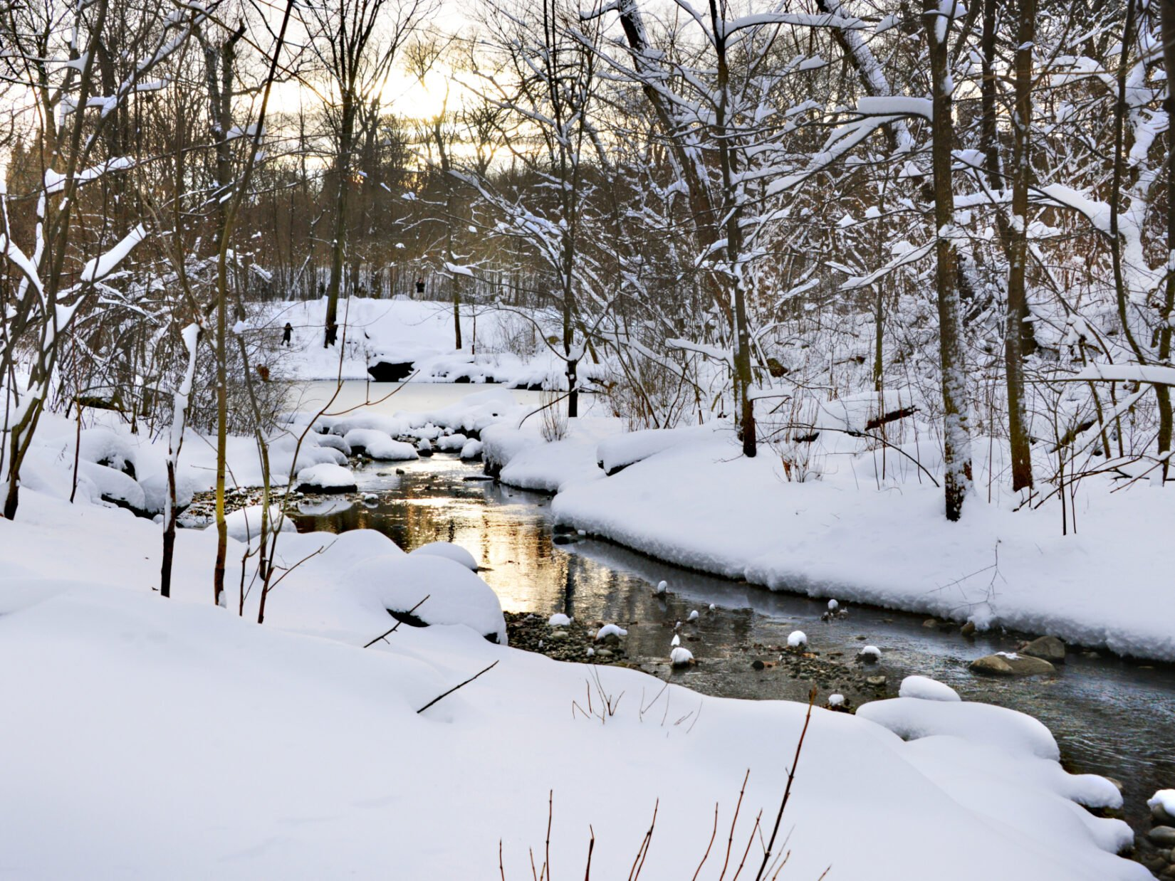 A stream winds through the snow-covered North Woods