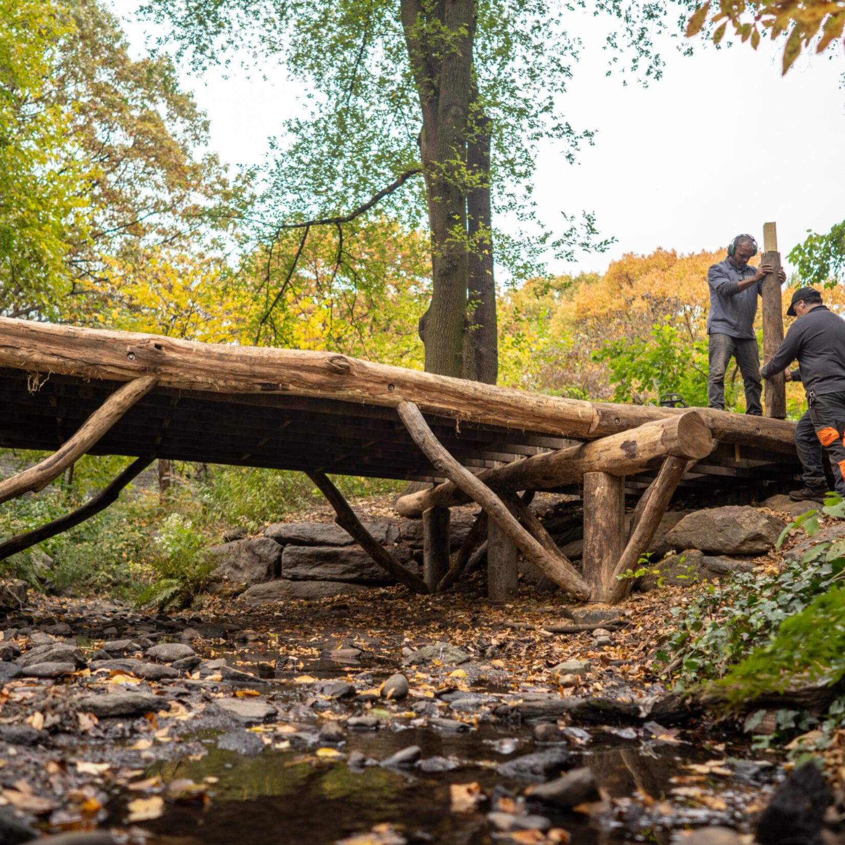 Conservancy staff repairing a rustic bridge