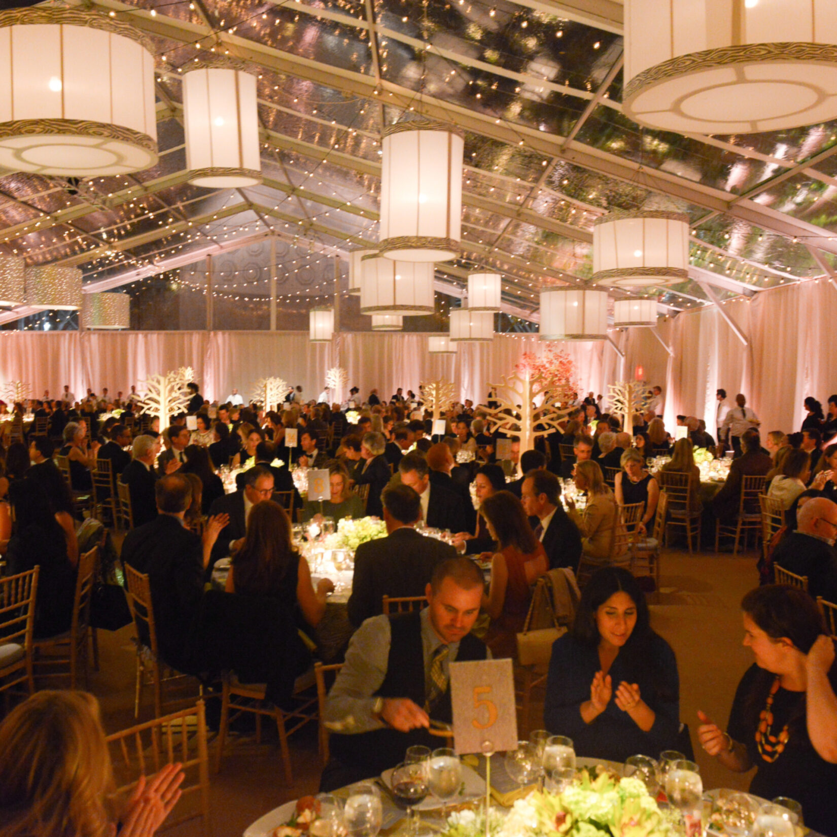 Celebrants dining in style in a tent