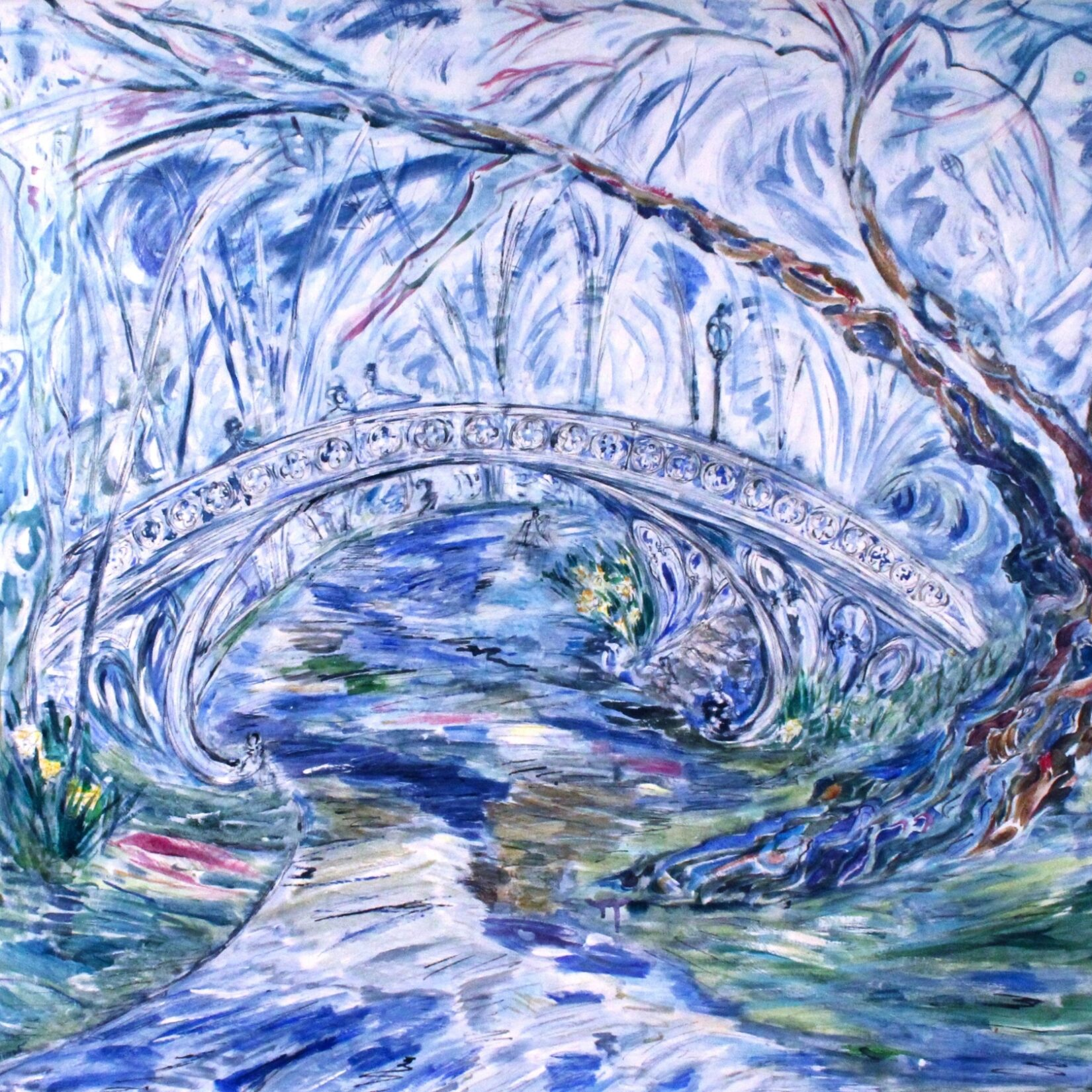 A watercolor painting of one Central Park's cast-iron bridges, with predominate  blues and greens.