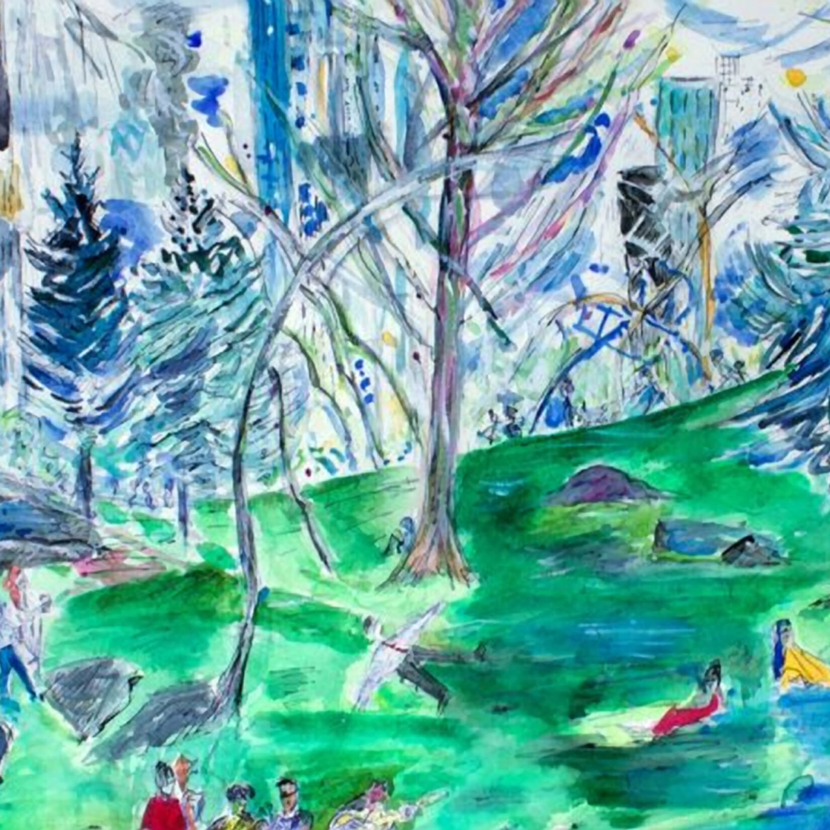 A watercolor view of the Park, rendered in lovely greens and blues