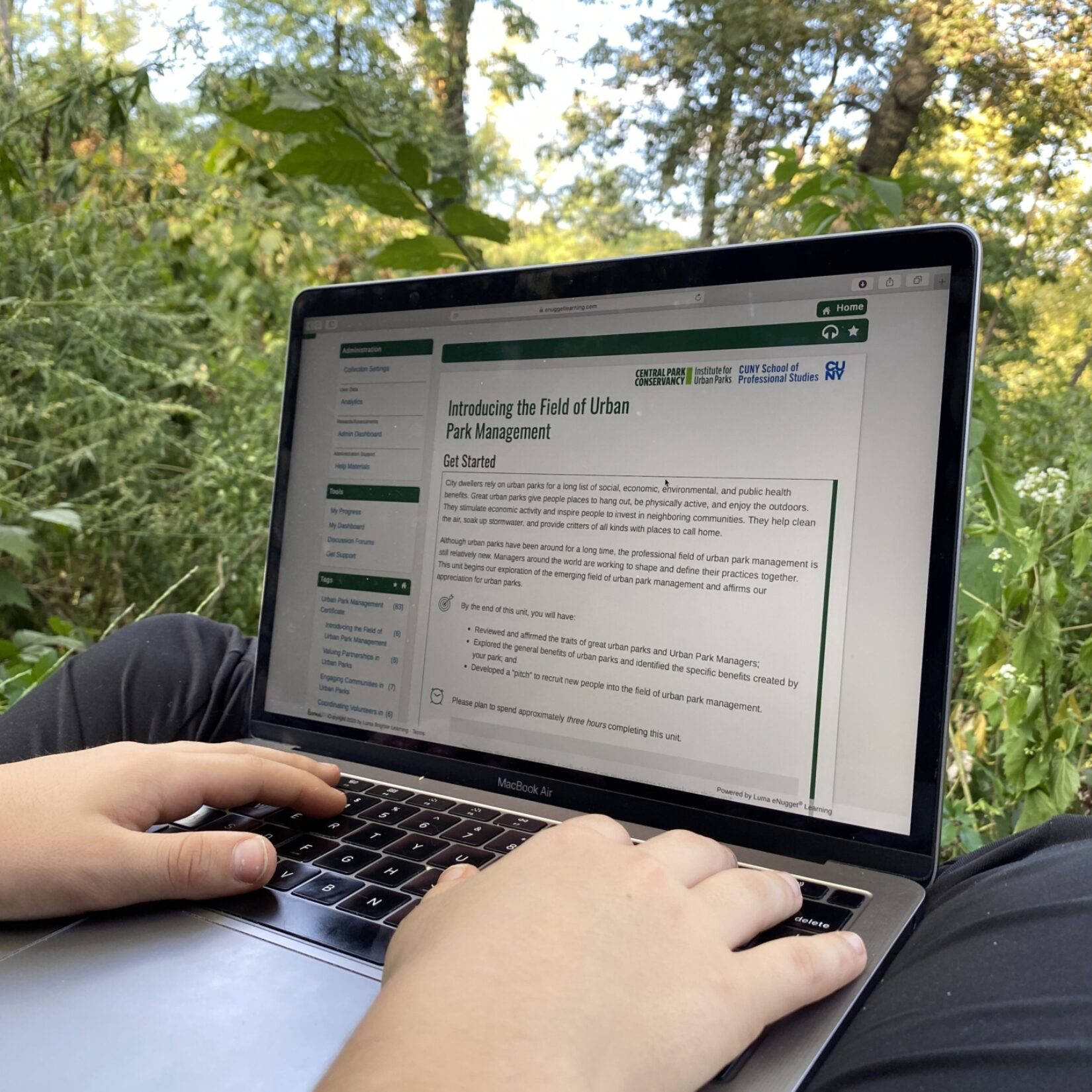A laptop opened to an Urban Park Management certificate page